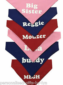 Personalised Dog Bandana, over collar type, any message can be added, in 3 sizes