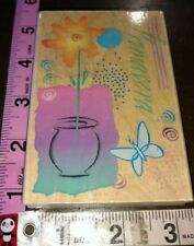 Primavera, flower butterfly scene, hero arts,727,wood,rubber stamp