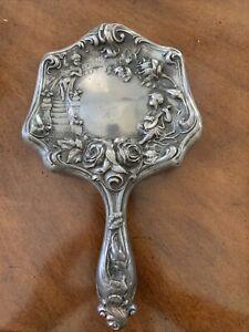 Vintage Hand Held Silver plated Vanity Mirror Art Nouveau Floral Cherubs