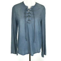 Thread & Supply Womens Shirt Size Medium Blue Chambray Lace up Tie Long Sleeve