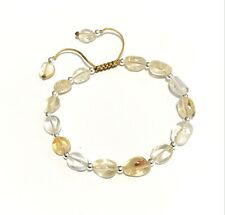 Just Gemstones Sterling Silver Citrine Holistic Healing Bracelet Adjustable