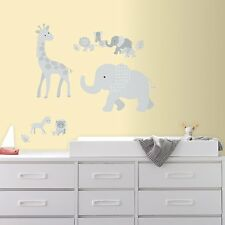 BABY SAFARI ANIMALS WALL DECALS Gray Elephants Giraffes Stickers Nursery Decor