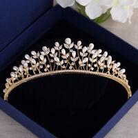 Gold Princess Pearls Zircon Crystal Bridal Tiaras Crowns Wedding Hair Accessory
