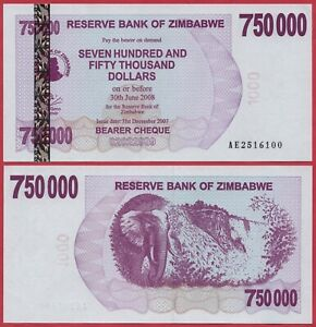 ZIMBABWE 750,000 DOLLARS 2007 P52 BEARER CHEQUE UNC