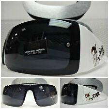 Motociclista da Moto Avvolgente Sportiva Locs Occhiali Sole Tonalità White Frame