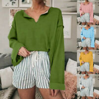 Women's Casual Solid Color Long Sleeve Top V-neck Loose Blouses Autumn T-Shirt