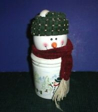 Ceramic Christmas Snowman - Candle and Match Holder