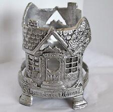 BBW 3 Wick Jar Candle Holder Sleeve Bath & Body Works Metal Welcome Home House