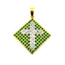 PERFECT RELIGIOU GIFT FINE EMERALD CZ  925 STERLING SILVER CROSS CHARM PENDANT