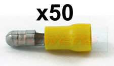 YELLOW MALE BULLET CONNECTORS TERMINALS 5mm FOR 3mm² - 6mm² CABLE 50 PACK