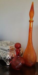 Glass Genie Bottle - Deep Red