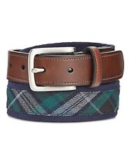 $90 CLUB ROOM Men's GREEN CANVAS FAUX LEATHER BUCKLE CASUAL DRESS BELT SIZE 44