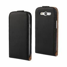 Black Genuine Real Leather Mobile Phone Flip Case Cover For Samsung Galaxy Model