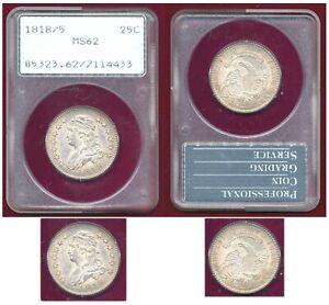 1818/5 25C-PCGS MS62-Nice Bust Quarter ++