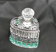 Taylor Avedon Perfume Bottle Rhinestone Enamel Crystal Glass Faceted Stopper New