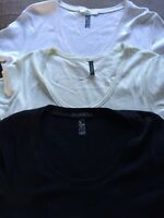 Marks & Spencer T Shirts In Size 18 White Black Pale Green <R6118