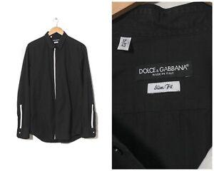 Vintage Mens DOLCE & GABBANA Shirt Long Sleeve Slim Fit Black Size XL