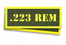 """.223 REM Ammo Can Labels for Ammunition Case 3"""" x 1"""" stickers decals 2 PACK -AG"""
