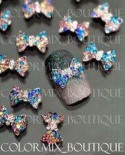 #CA063  3D Bijoux ongles nail art tip décorations noeud melange couleurs strass