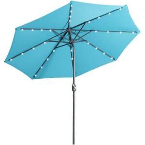 Market Patio Beach Umbrella Tilt Solar LED Without Base Aluminum 9 Ft. Blue