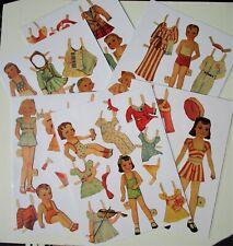 Vintage Paper Dolls -10 Children -boys & girls w/clothes & acces - pre-cut