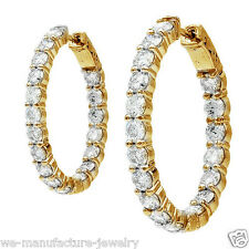 6.00Ct YELLOW GOLD DIAMOND HOOP EARRINGS OVAL SHAPE SHARED PRONG 14Kt 11.3Gr