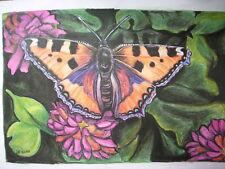 Bild Pastell Original Schmetterling Kleiner Fuchs  A3