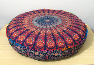 """Indian Cotton 35"""" Large Round Floor Cushion Pillow Cover Pouf Room Decorative"""
