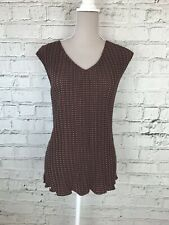 NEXT Red Black Crinkle Textured Sleeveless V-Neck Casual Top Size 16