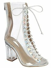 Women's New Clear Peep Toe LaceUp Transparent Perspex Block Heel Booti Shoe 6-10