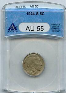 1924-S Buffalo Nickel 5c ANACS AU 55