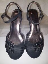 Kenneth Cole Reaction Girls Belle Flower Black Dress Shoe Sandals Size 3