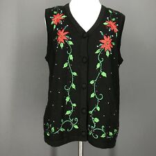 Christmas Sweater L Petite Black Poinsettia Crewel Embroidery TRADITIONS Vest