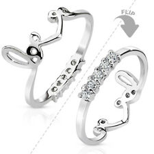 Two-Way Love Crown & Lined CZ Gems Finger or Toe Ring, Mid Ring, Size 3