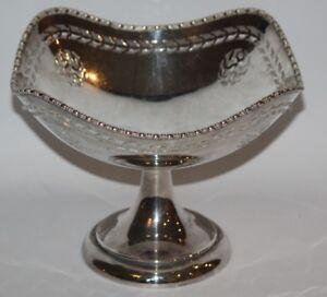 """Vintage White Metal 6 1/4"""" Comport /  Pedestal Fruit Basket"""