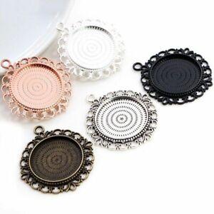 5pcs Cabochon Base Setting Pierced Zinc Alloy Charms Pendant Jewelry Findings
