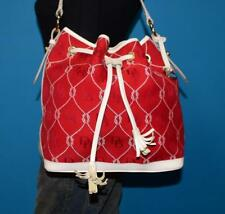 DOONEY & BOURKE Red Jacquard Ivory Leather Drawstring Nautical Tote Bag Purse