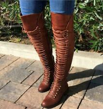 Womens Punk Thigh High Over The Knee Boots Lace Up Flat Low Heels Riding Shoes