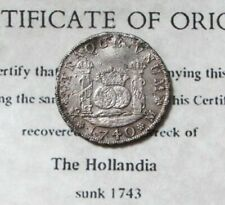 1740 SILVER MEXICO PILLAR 4 REAL 1743 HOLLANDIA SHIPWRECK SALVAGED TREASURE COA
