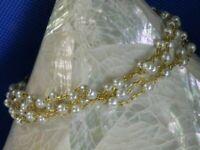 "Gold tone 4 chain faux pearls 7 1/2"" estate bracelet A10"