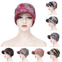 Women's Muslim Printed Slouch Hats Cancer Chemo Hijab Scarf Caps Arab Amira Hat