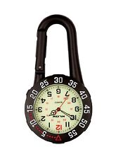 Black Carabiner Clip-on Belt Fob Watch. Rotating Bezel Luminous, Doctors, Sports