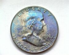 1962-D FRANKLIN SILVER 50 CENTS GEM+ UNCIRCULATED FULL BELL LINES NICE TONING!!
