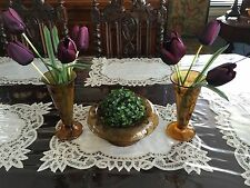 Vintage Art Deco Davidson Amber Cloud Bowl and Frog with Conical Vases
