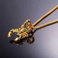 Oro 18K Chapado Joyería De Lujo Collar Para Hombre Escorpión Colgante Cadena De