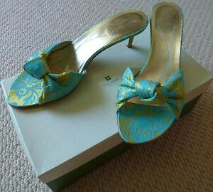 NIB Kate Spade Vintage Ladies Leather Turquoise Mermaid Sandals Shoes Size 8