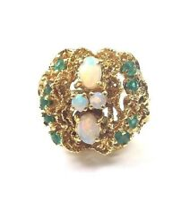 14k Yellow Gold Women's Vintage Cocktail Ring With Green Emerald And Opal Stones
