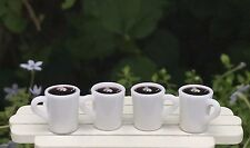 Miniature Dollhouse FAIRY GARDEN Accessories ~ Set of 4 Filled Coffee Mugs ~ NEW