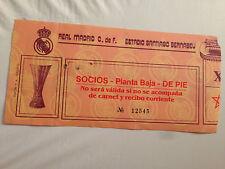 ENTRADA TICKET REAL MADRID SPAIN BORUSSIA MONCHENGLADBACH GERMANY UEFA 1985 1986
