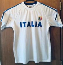 Italia Mens White T Shirt Embroidered Italy Italian Sport Football Soccer Rugby